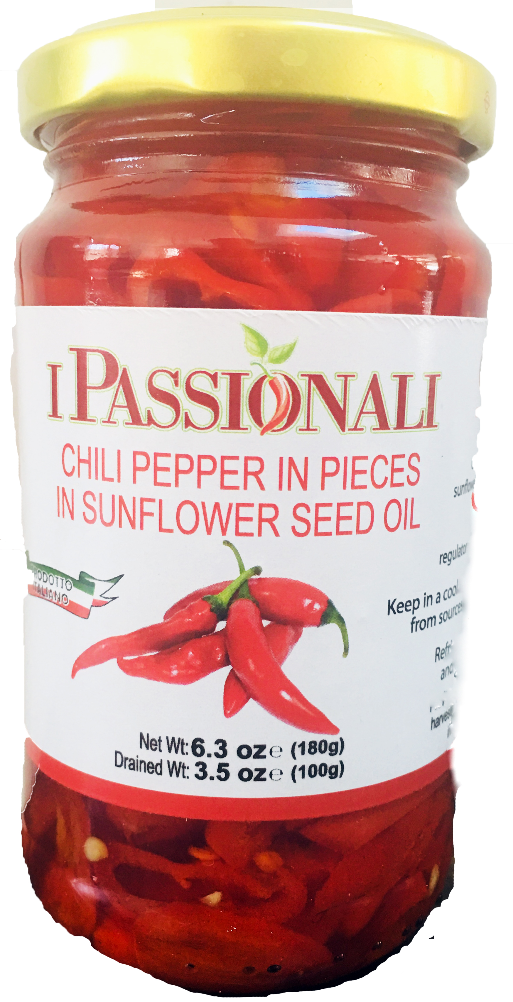 I Passionali Chili Pepper in Sunflower Seed Oil 6.3 Oz. From Calabria Image